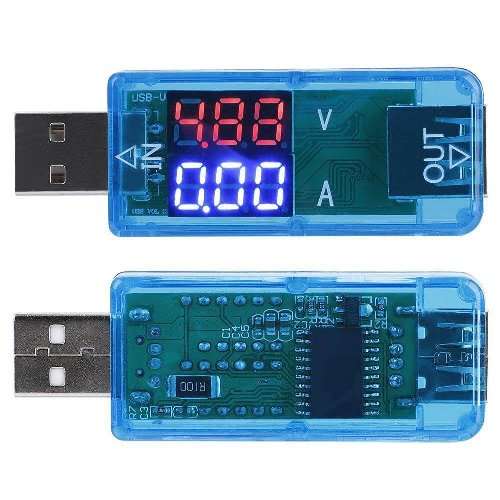 Qianmei USB Color LCD Voltmeter Ammeter Current Meter Multimeter Charging USB Tester (Blue)