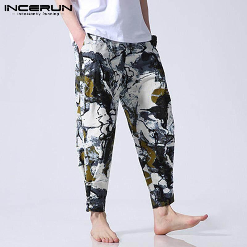 Mens Casual Ethnic Style Cotton Linen Harem Pants Loose Wide Leg Trousers New