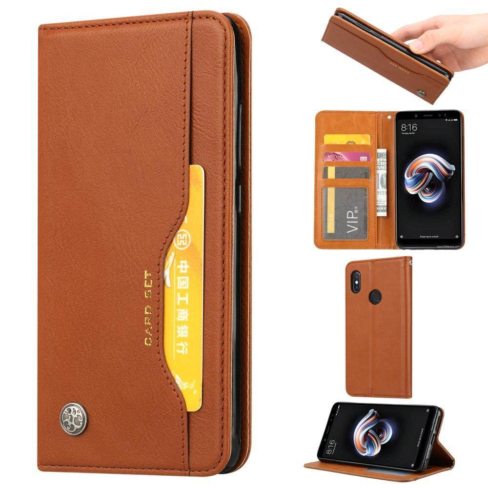 For Redmi Note 5 Pro PU Leather Wallet Phone Case Mobile Cover with Card Holder Smart