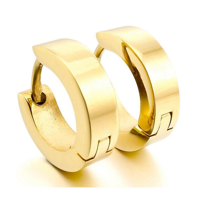 Stainless Steel Stud Plugs Hoop Earrings Ear Studs Gold Unique Polished Men By Sunshineyou.