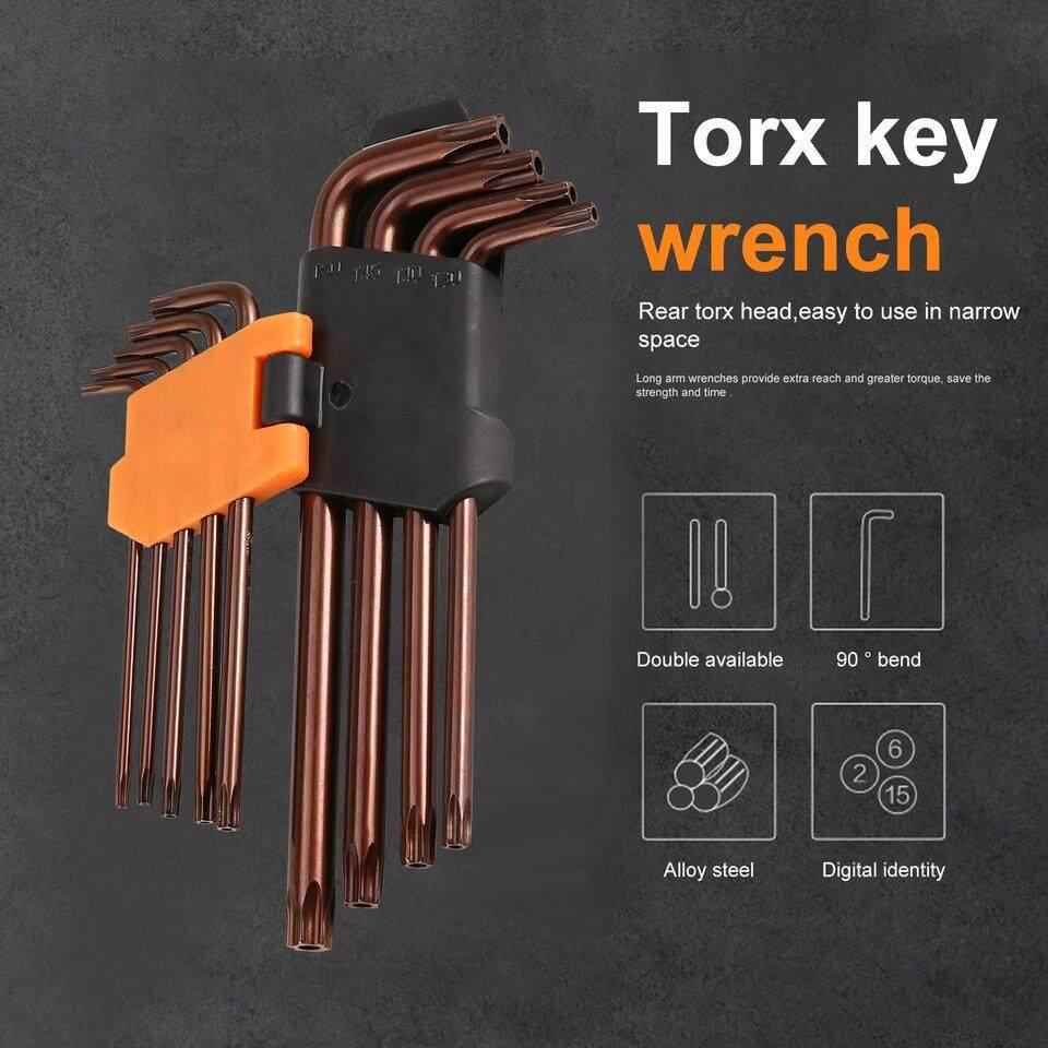 GOOD HONGLUO 9Pcs L Shape Hex Steel Mirror Double Wrench Torque Key Spanner Set