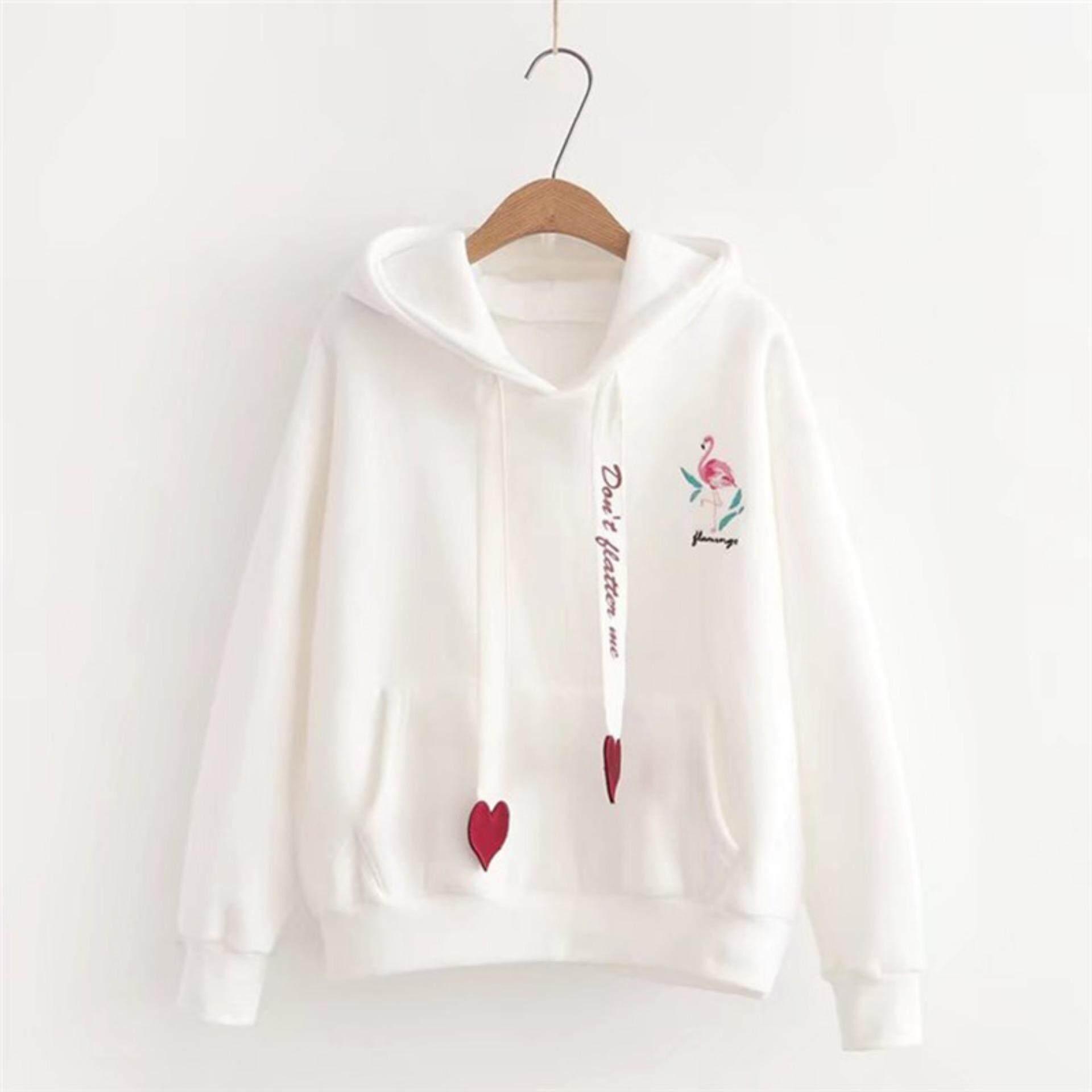 Hoo s Sweatshirts Women Flamingo Embroidery Sweatshirt Female Casual Fashion