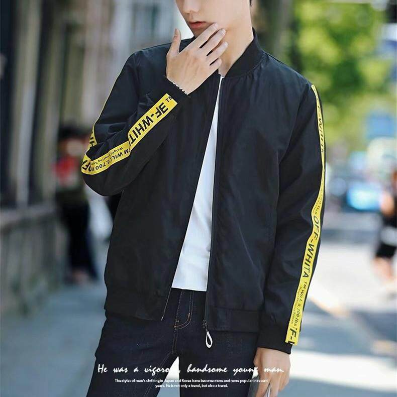 Casual Fashion Men Spring and Autumn Baseball Collar Casual Simple Jacket Youth Slim Korean Jacket
