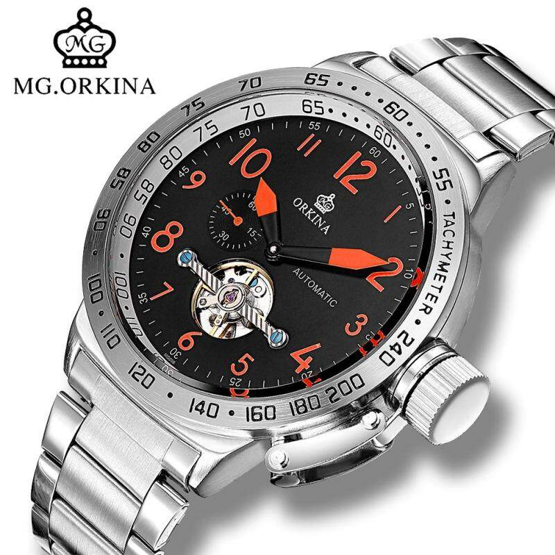 Mg.orkina Big Tourbillon Automatic Silver Watch Large 50MM Dial Mechanical Self Wind Wrist Watches Men montre automatique homme Malaysia
