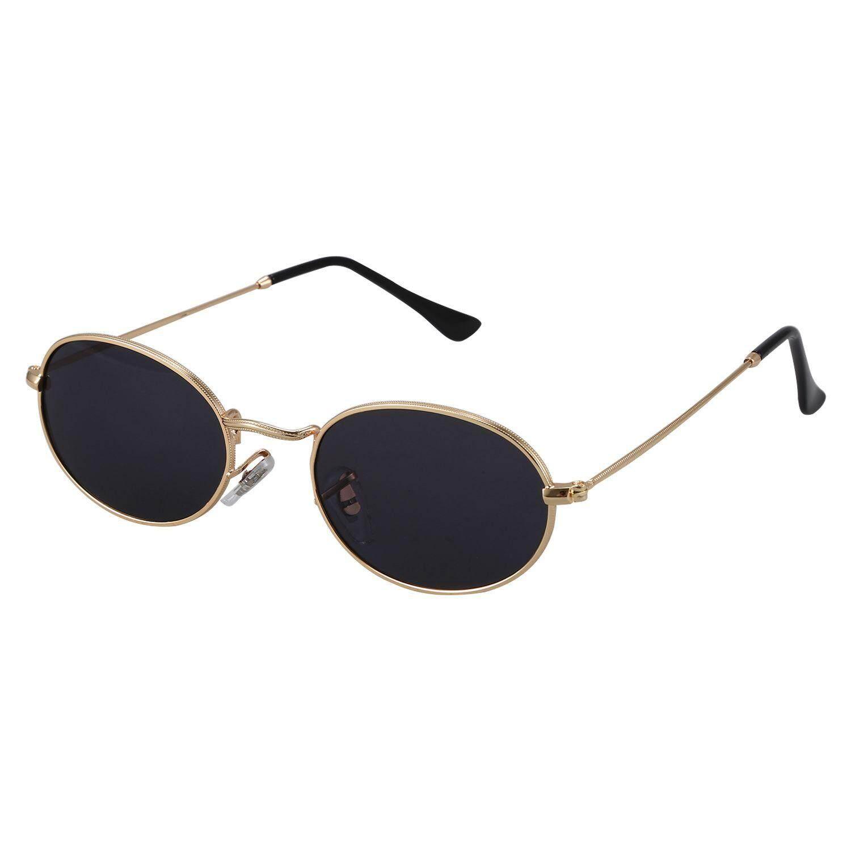 Oval Sunglasses Men Women Vintage Male Female Retro Sun Glasses Round Eyewear S8006 Gold frame Black