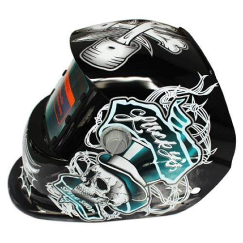 SOLAR ENERGY AUTOMATIC CHANGEABLE LIGHT ELECTRIC WELDING PROTECTIVE HELMET WITH PIRATE PATTERN (BLACK AND LIGHT BLUE)