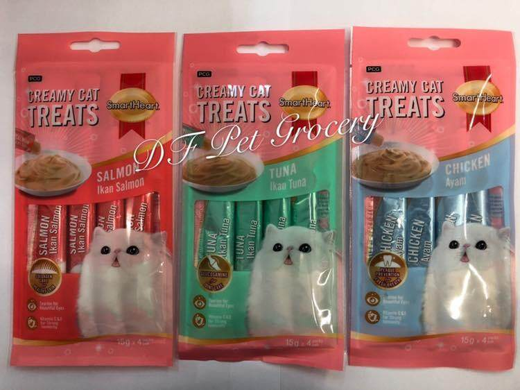 Smartheart Creamy Cat Treats 4 Pack X (15g X 4 Stick) Mix Flavor By Df Pet Grocery.