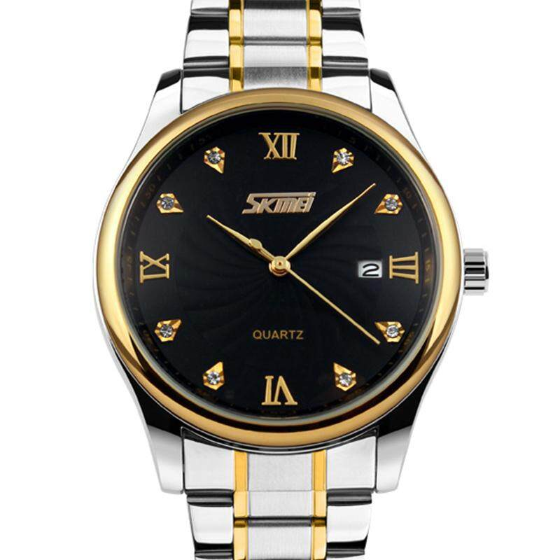 SKMEI Men Business Watch Quartz Classic Watches Stainless Steel Belt Mens Waterproof Wrist Watches 9101 Jam Tangan Lelaki/Man Malaysia