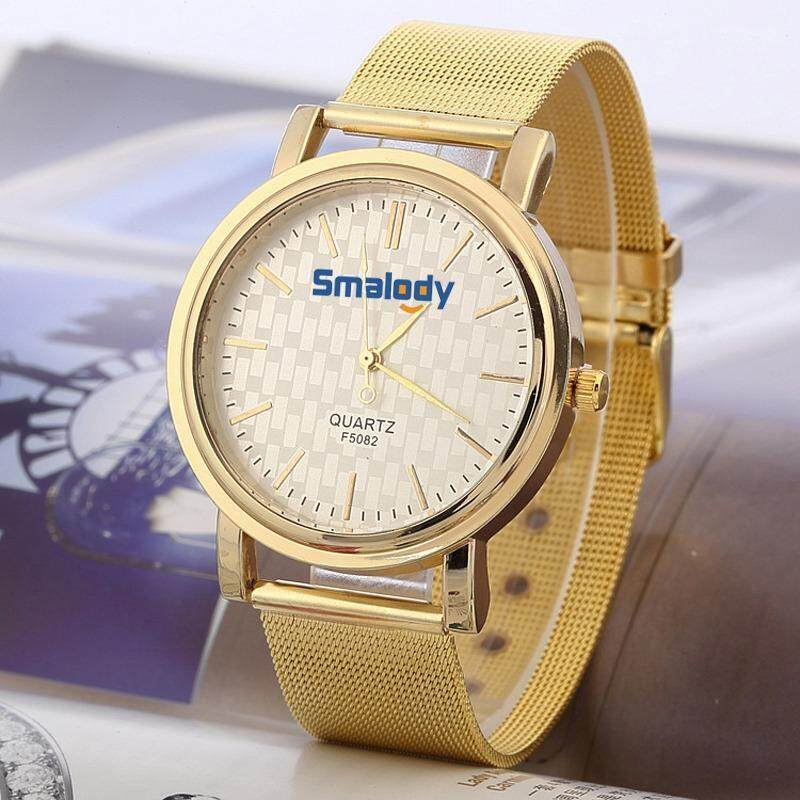 Smalody Quartz Casual Watch Bright Gold Band Wirst Watch Brand Metal Mesh Stainless Steel Clock Malaysia