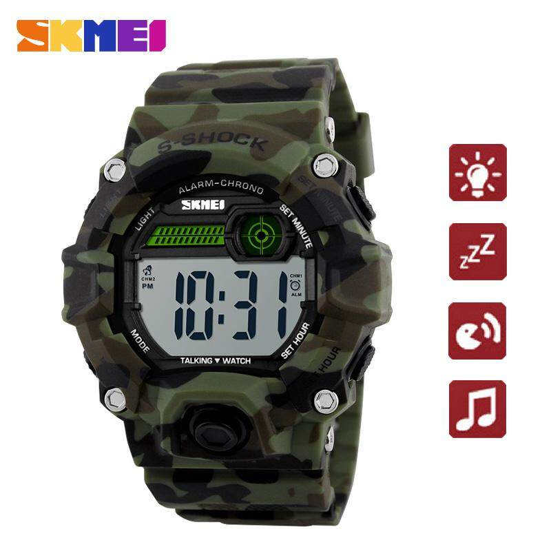 Brand Watch Men Sports Talking Alarm Clock Snooze Time LED Digital Casual Electronics Wristwatches 1162 Malaysia