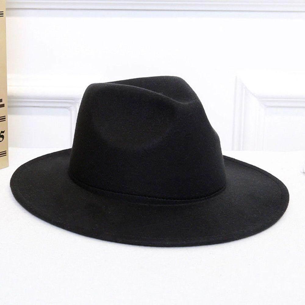 a94ed60bcaf Vintage Men s Women s Wool Felt Cap Wide Brim Fedora Trilby Panama Hat