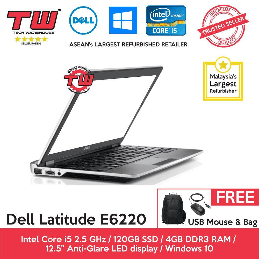 Dell Latitude E6220 Core i5 2.5 GHz / 4GB RAM / 120GB SSD / Windows 10 Home Laptop / 3 Month Warranty (Factory Refurbished) Malaysia