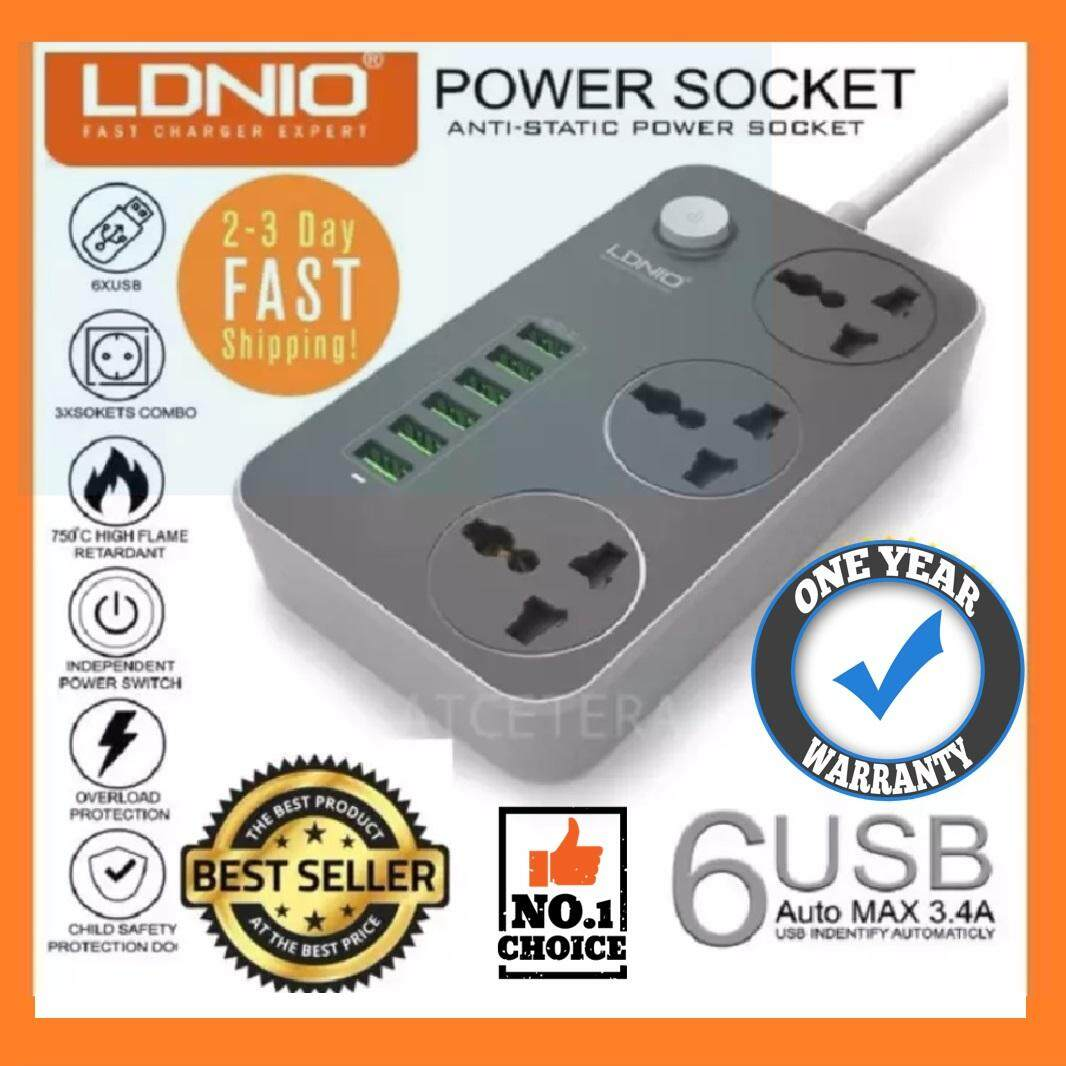 Ldnio Sc3604 3.4a Max Uk Msia Power Socket With 3 Ac + 6 Usb Super Fast Charger Adapter 2500w 10a 2 Meter 3 220v For Iphone Samsung Huawei Oppo Vivo Xiaomi By Atcetera Solutions.