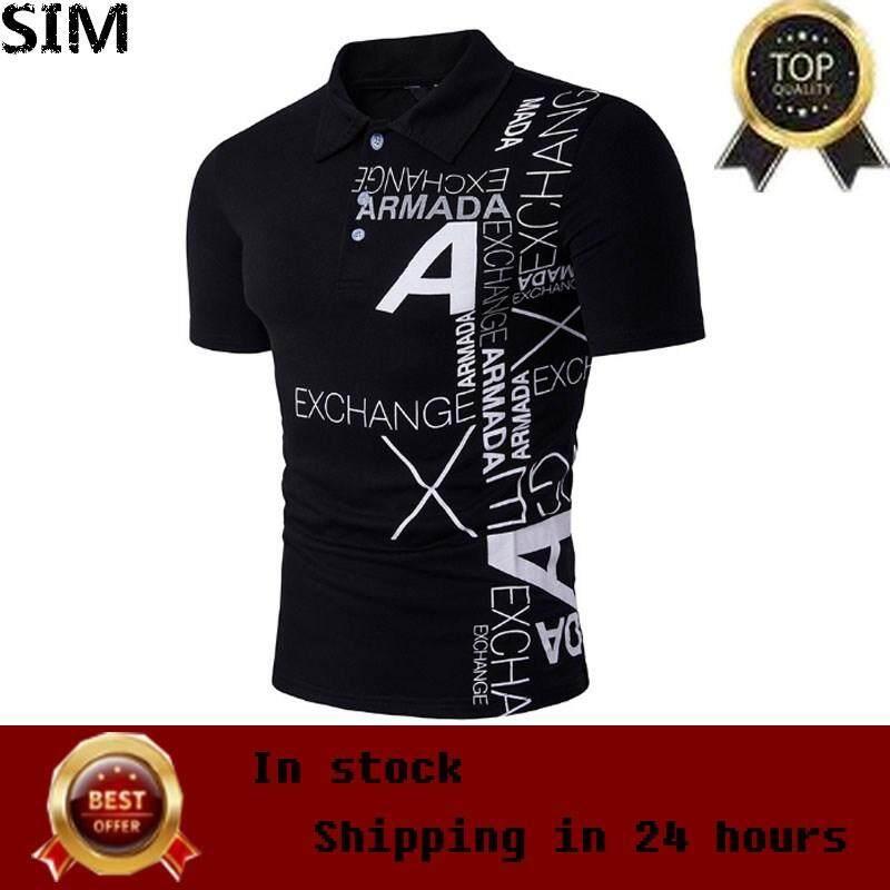 a4921990599 SIM Men s Fashion Casual Short Sleeve Polo Shirts Letter Print T-Shirts  Plus Size White