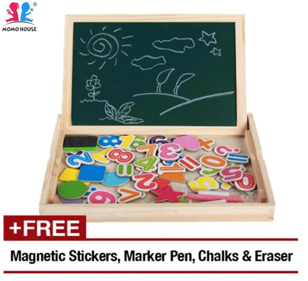 MOMO House Wooden Educational Blackboard & Whiteboard Box With Magnetic Puzzles