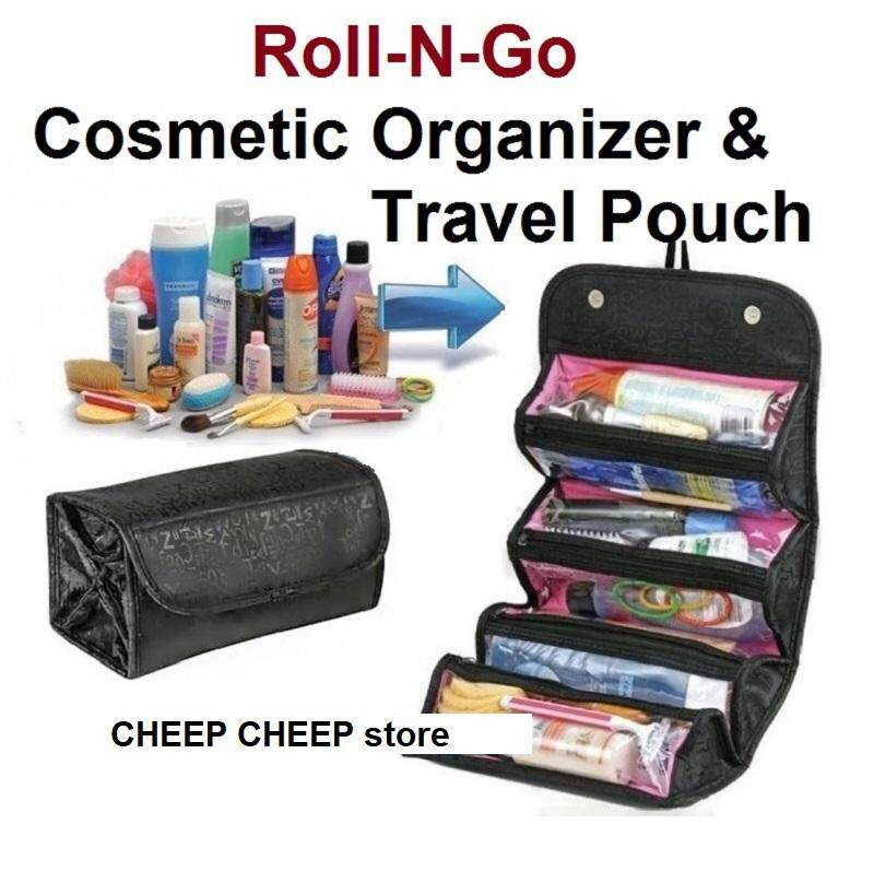 Roll N Go Cosmetic Bag For Makeup Toiletry Jewelry Travel Bag Organizer Vanity Pouch Space Saver By Cheep Cheep.