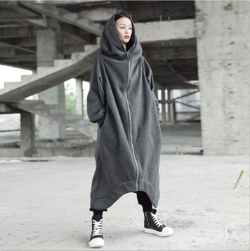 c680e69b91ed ZANZEA Fashion Full Sleeve Hooded Long Jacket Zipper Pockets Irregular Hem  Solid Fleece Coat Women Winter