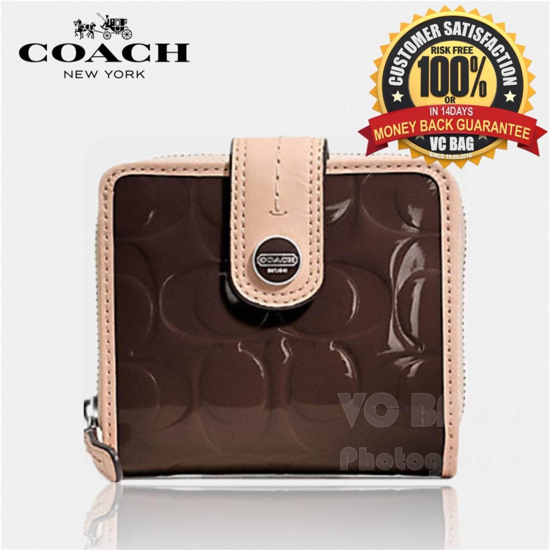 75f34d3e COACH F49828 Signature Stripe Embossed Patent Slim Medium Wallet  [Silver/Brown/Tan]