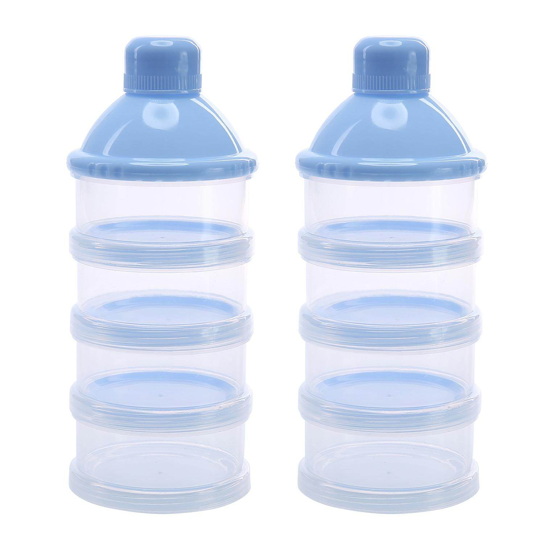 2Pcs 4 Layers Portable Infant Baby Milk Powder Formula Dispenser Feeding Storage Case Box Container