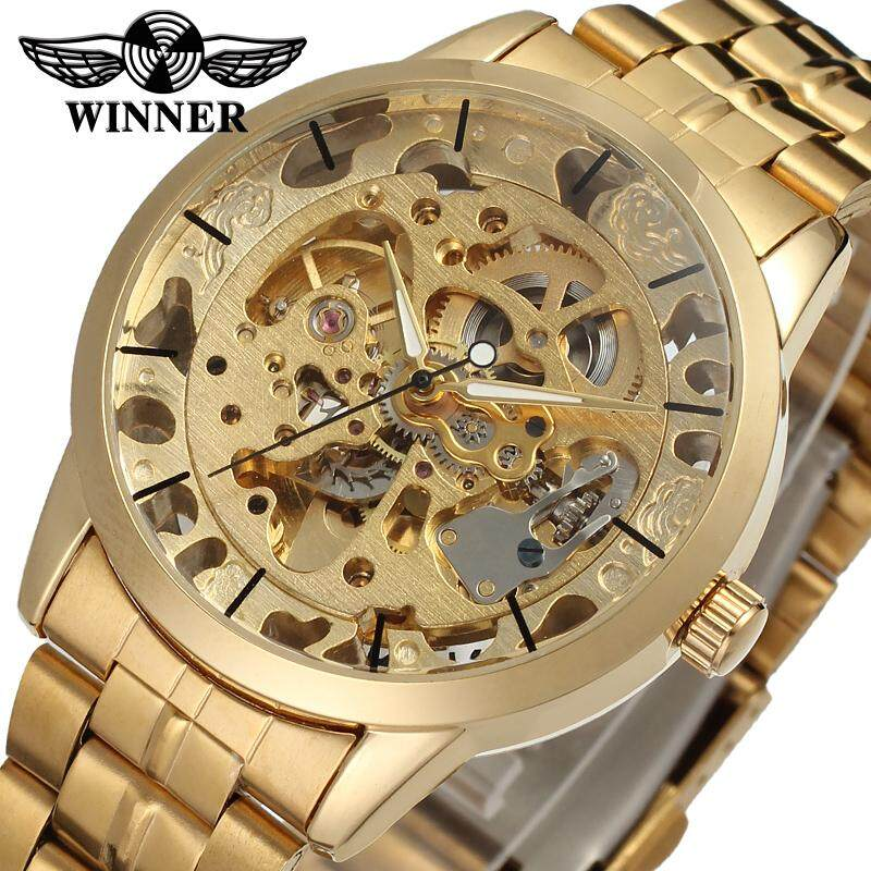 Men Stainless Steel Automatic Mechanical Men Watches Brand Transparent Hollow Skeleton Military watch Malaysia
