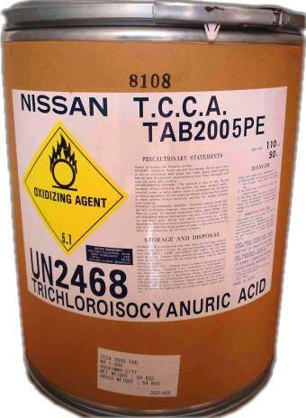 Chlorine Klorin 90% JAPAN - NISSAN TCCA 90TABLETS (50KG/DRUM TRICHLOROISOCYANURIC ACID)