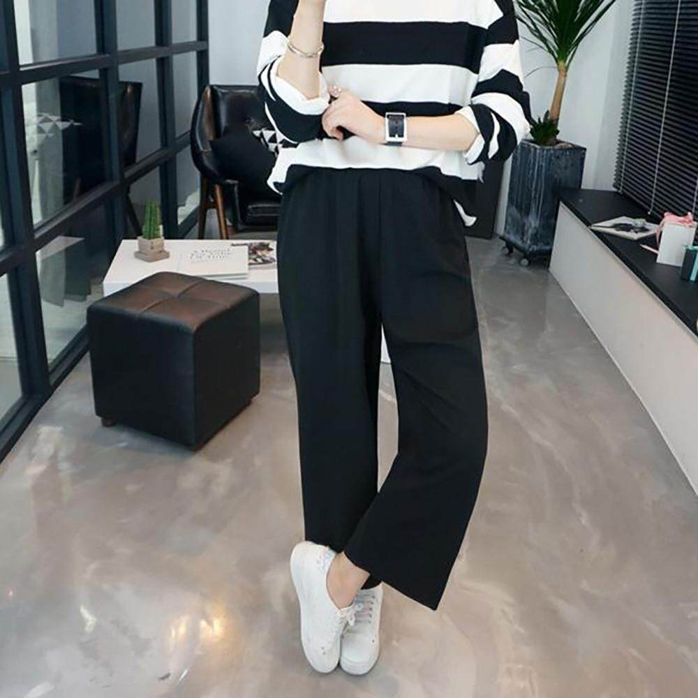 Featured Seven Points Pipe Pants High Waist Casual Straight Wide Leg Women Pants