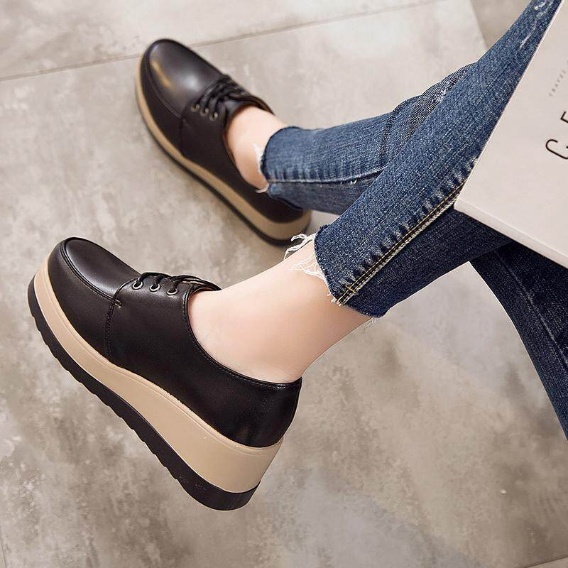 f84a2cac746b Platform Shoes Female Spring And Autumn Versatile round Head Thick Bottomed  Lace-up Semi-