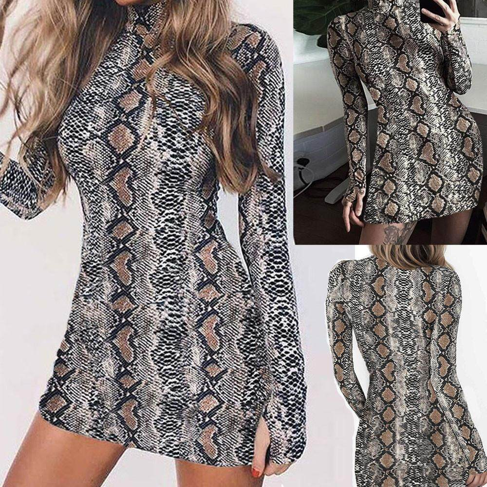 fb2c7f8f24791 Women Fashion Print Long Sleeve Turtleneck Snake Grain Hip Sexy Dress