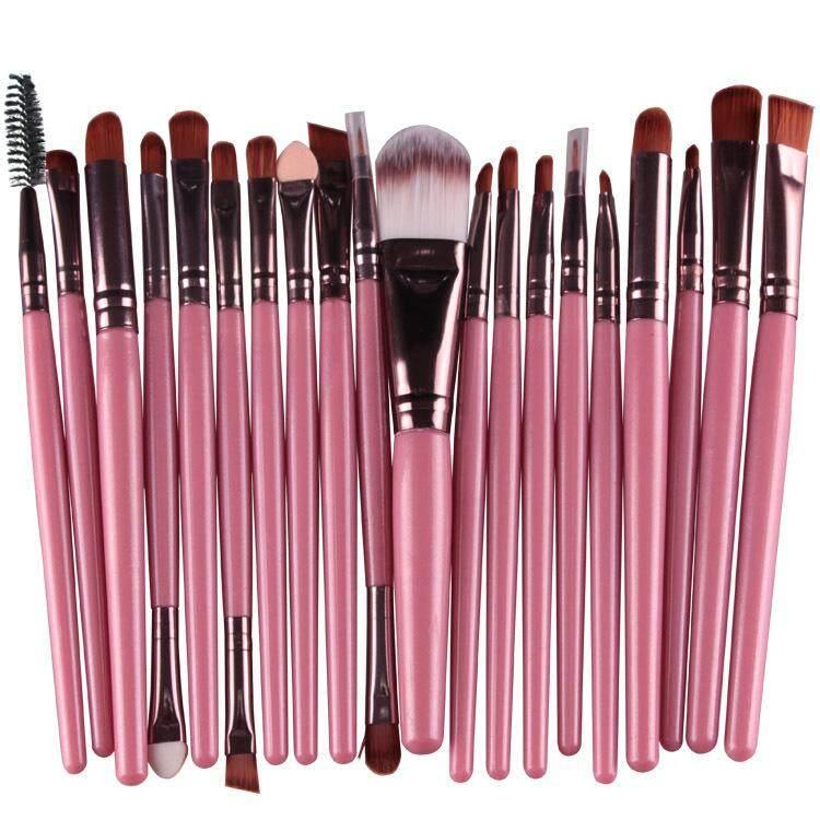 20 Pcs Make Up Brush Set Pink Brown By Glamhouse.