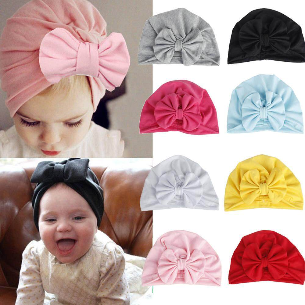 cf0ae8bd593fc 8 Color Soft Toddler Kids Baby Girl Boy Knotted Beanie Turban Style Hat  Solid