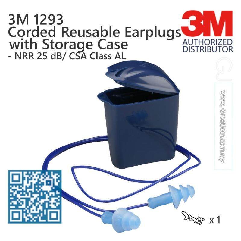 3M 1293 Reusable Earplugs With Plastic Cord and Storage Case / NRR 25 dB [1 Pair]