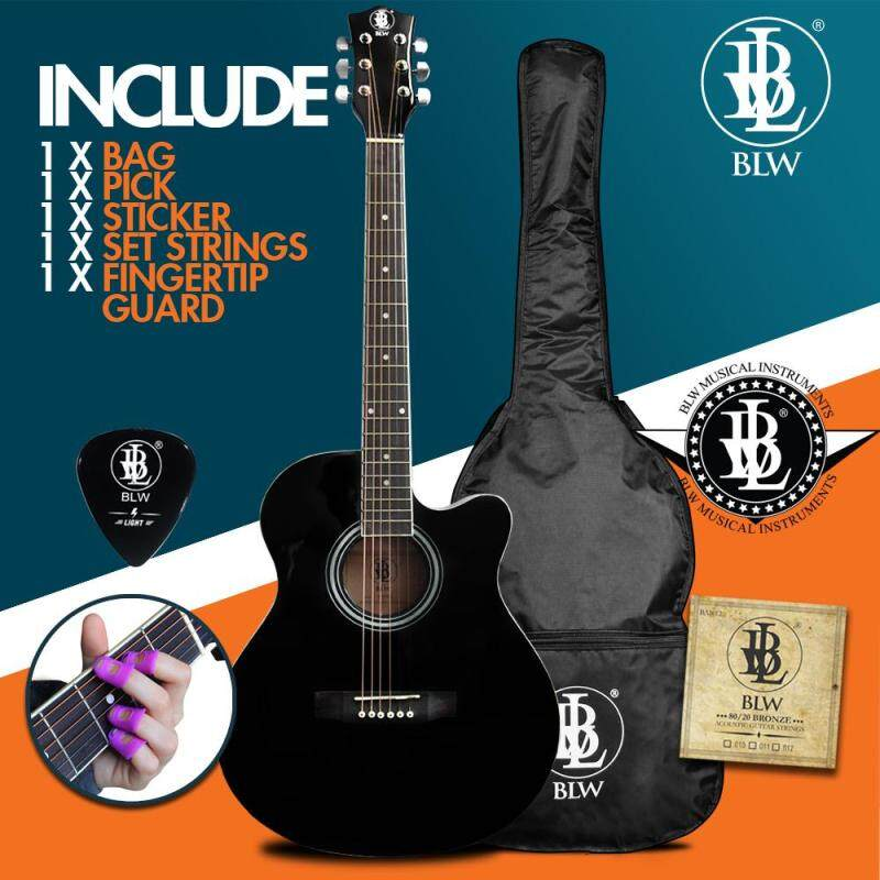 BLW 40 Inch Standard Orchestra Acoustic Guitar for Beginners Rosewood fingerboard SO400 Comes with Bag, String Set, Fingertip Guard, Pick and Merchandise Sticker (Black) Malaysia