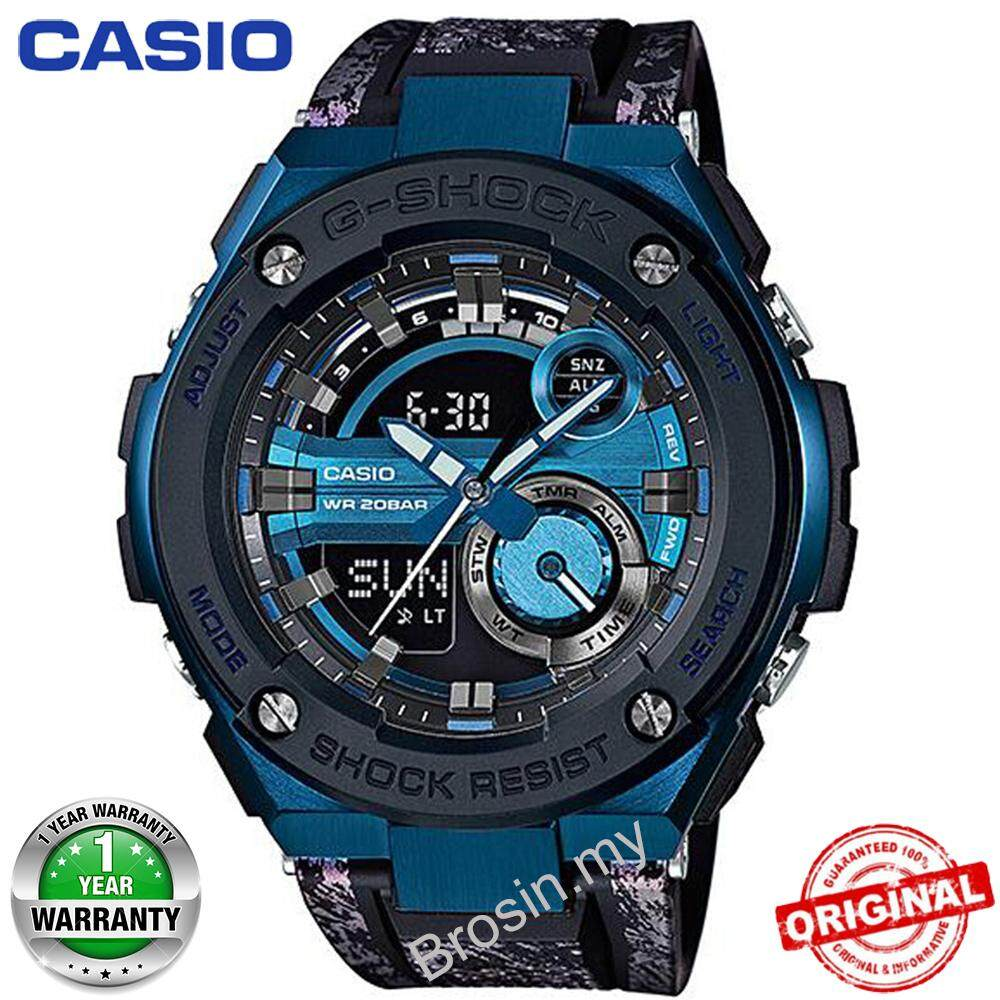 (Ready Stock) G-Shock GST200 Duo W/Time 200M Water Resistant Shockproof and Waterproof World Time Sports Watch LED Auto Light Wist Sport Watches for Men with 1 Year Warranty GST-200CP-2A Malaysia