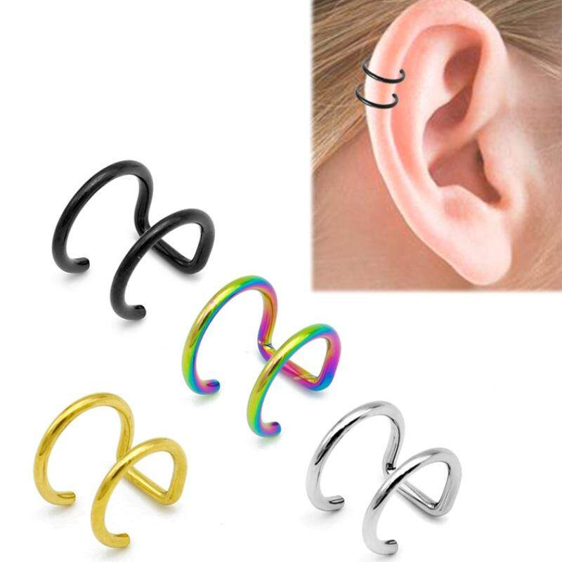 10 Pcs Trendy Simple Clip On Earrings Without Piercing Non Pierced Ear Cuff Earrings Gold Silver Black Color For Women Girl By Rytain.