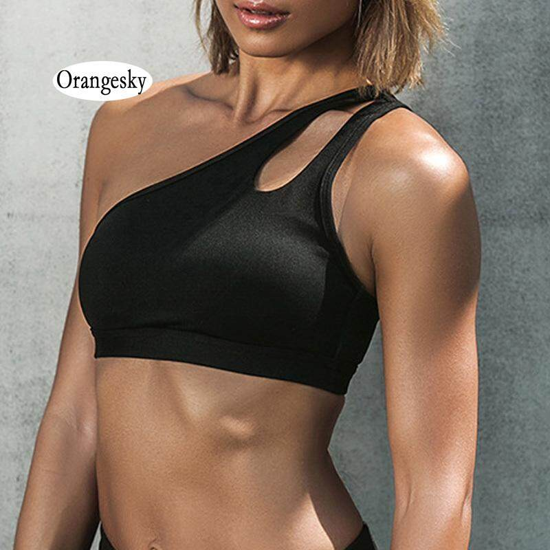 aead0bd9975ab Orangesky Sexy Women One Shoulder Sports Bra Fitness Yoga Gym Padded  Athletic Brassiere Workout Underwear