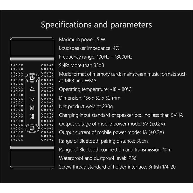 Gm Outdoor Bluetooth Speaker Waterproof 5200mah Power Bank Portable Subwoofer Bass Speaker Led Light+bike Mount By Gaowang Mall.