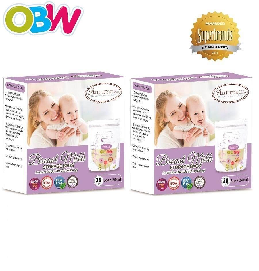 Autumnz Double Ziplock Breastmilk Storage Bag 5oz Twin Pack 28 Bags Comotomo 150 Ml Single Pink