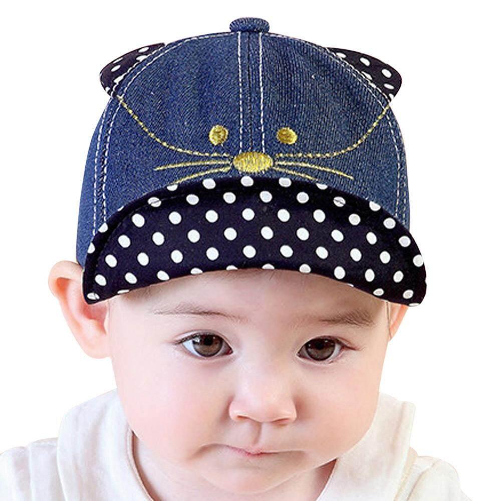 docesty Cute Infant Newborn Kids Comfortable Bongrace Hat Peak Cap Cat  Kitten Cartoon 8dfc59f3ebaf