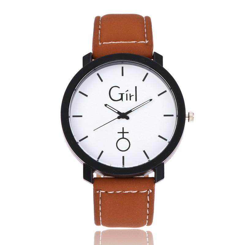 YBC Simple Round Dial Quartz Couple Watch PU Leather Wristwatch for Girls Boys Gifts Malaysia