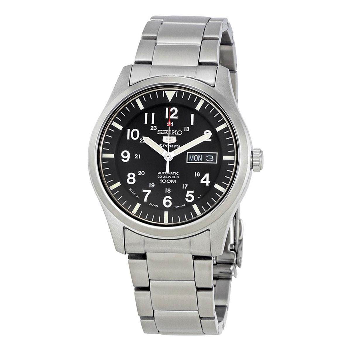 Seiko Mens Automatic 5 Sports Business Analog Black Dial Silver Band Stainless-Steel Bracelet Stainless-Steel Case Water Resistance - 100 Meter 10 Bar SNZG13J1 Malaysia