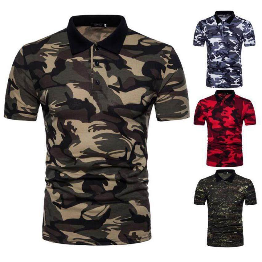 4be9cdc6 Men's Casual Cotton T-shirt Camouflage Polo T-Shirts   Lazada