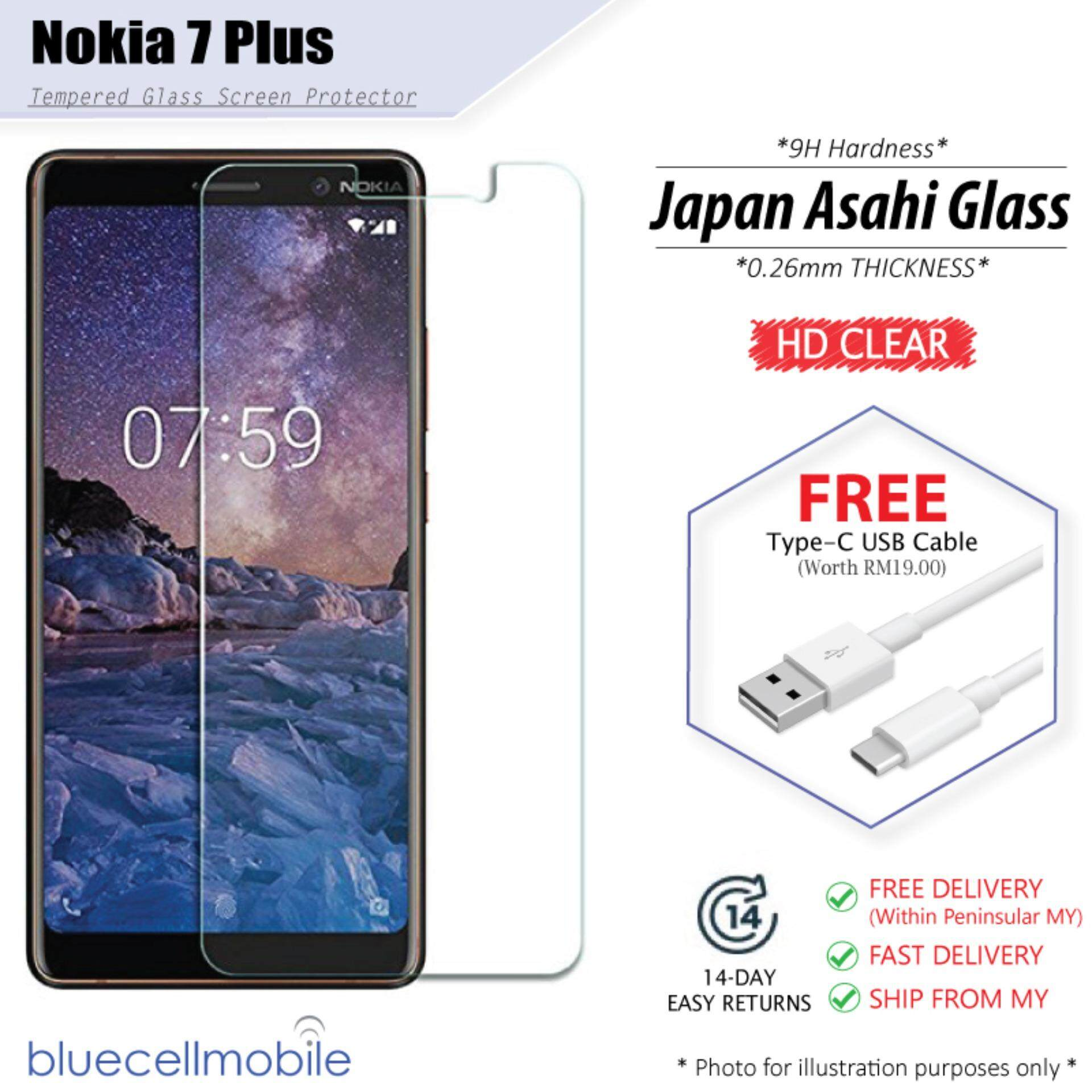 [HD] Tempered Glass For Nokia 7 Plus + FREE USB Cable