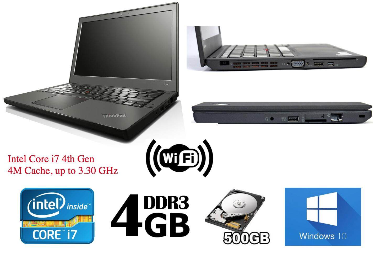 Refurbished Core i7 Lenovo X240 Ultrabook (i7 4th Gen 2.1Ghz up to 3.30Ghz / 4GB RAM / 500GB HDD / Win7 COA / Win 10 Pro / Bag) (3 Month Warranty for Laptop & 1 Month Warranty for Battery and Adaptor) Used Laptop Notebook Malaysia