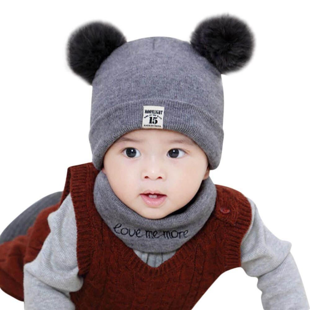 540b40bb4ff4 Newborn Kids Baby Boy Girl Pom Hat Winter Warm Knit Crochet Beanie Cap  Scarf Set