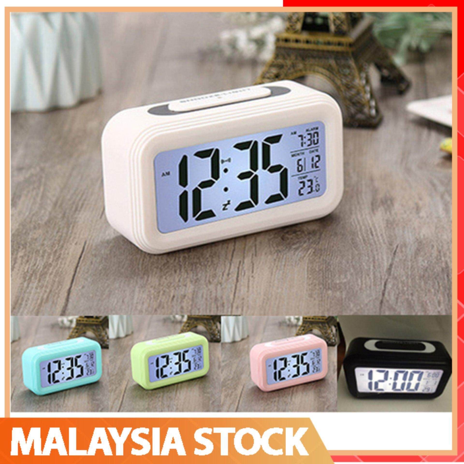 LED Clock Digital Snooze Alarm Clock Candy Color Backlight Time Calendar Thermometer .
