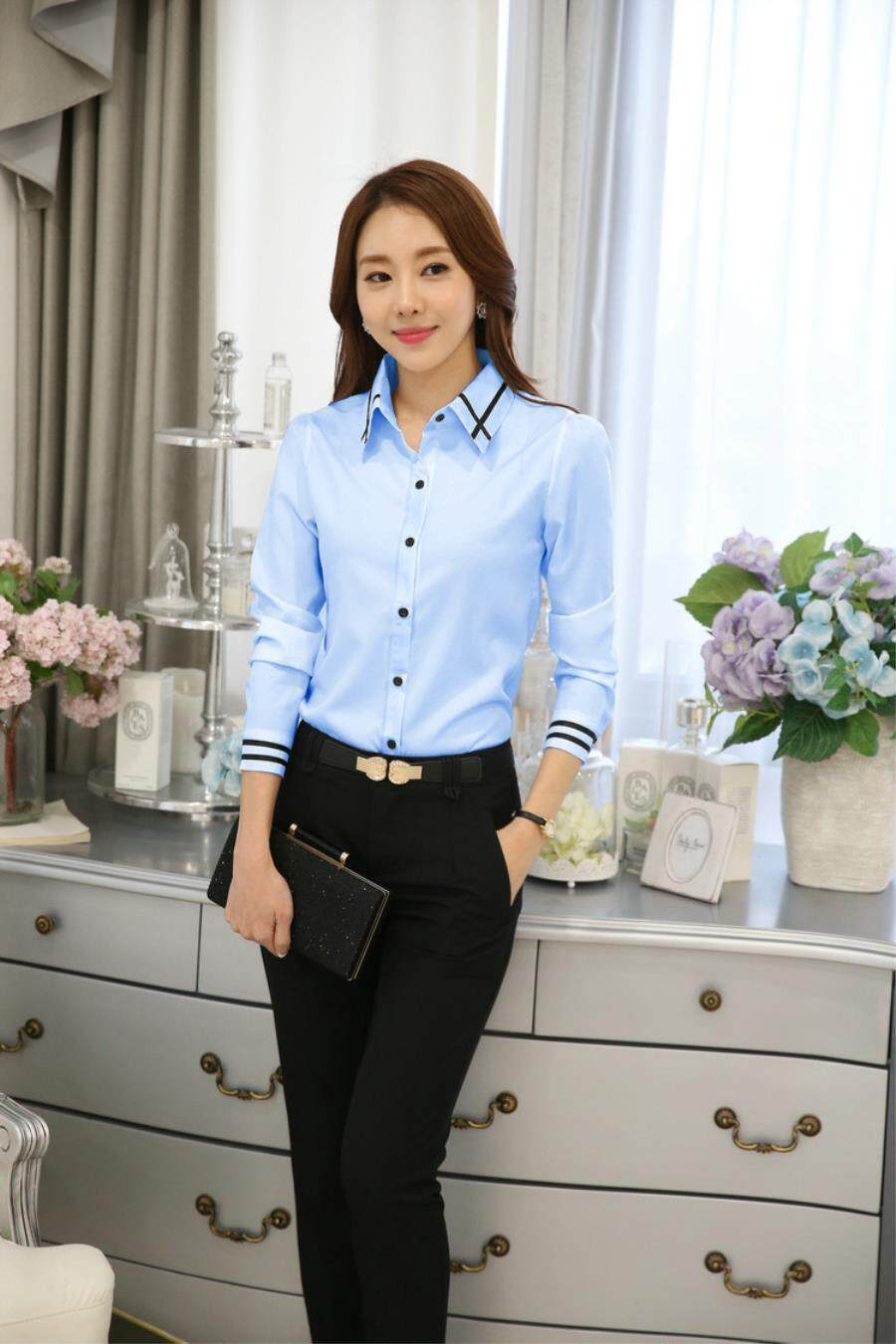46a84027439d25 Fashion Formal Shirt Women Clothes 2018 New Slim Long Sleeve White Blouse  Elegant Ol Office Ladies