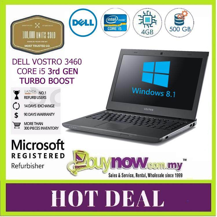 Refurbished USED Notebook Laptop Dell Vostro 3460 Intel Core i5-3210M Processor 3rd Gen (2.50GHz, with Turbo Boost 2.0 up to 3.10GHz) Ram 4 GB - HDD 500 GB - Free Bag Malaysia