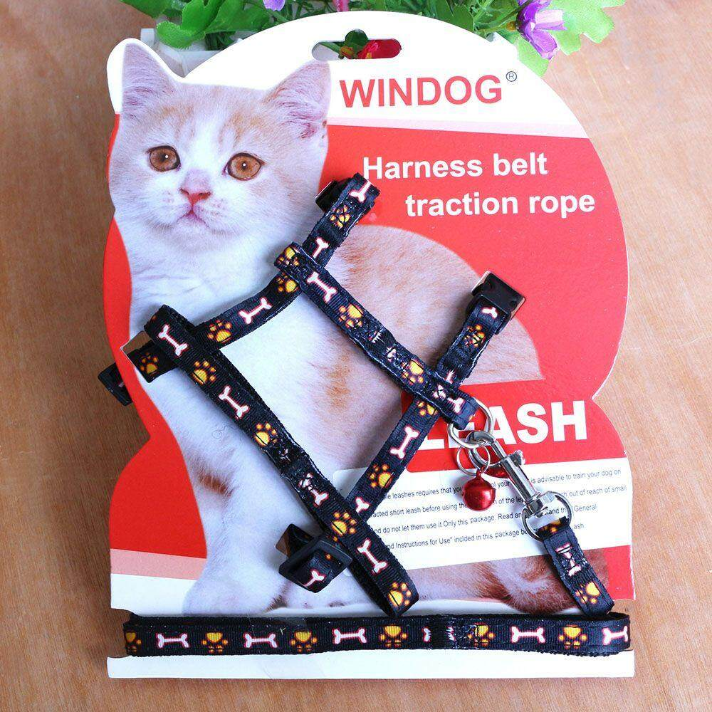Cat Puppy Adjustable Harness Collar Nylon Leash Lead Safety Walking Rope (black) By Best Land.