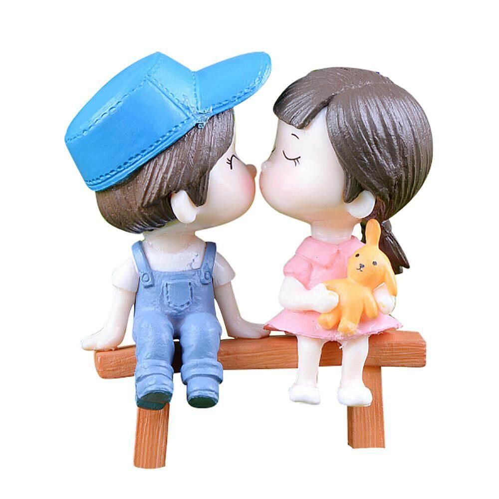 1 Set Cute Lovers Chair Miniature Landscape Diy Ornament Garden Dollhouse Decor By Questre.