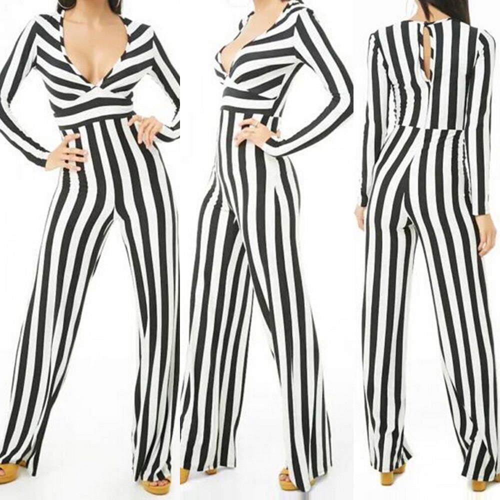 9ef0785bba9 Freeshipping Fashion Pikaqius99 Women Fashion Long Sleeve V-Neck Striped  Pencil Pants Jumpsuit Overall